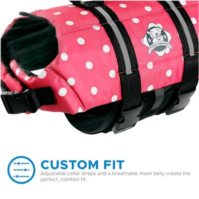 Paws Aboard Dog Life Jacket - PINK POLKA DOT