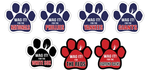 """""""Wag It! for the... """" Baseball Theme Paw Magnets"""