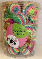 Rainbow Feather Balls 34 pc Jar