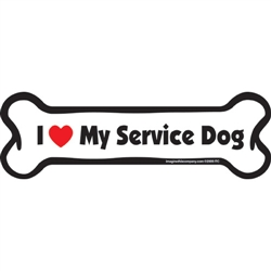 I (Heart) My Service Dog Bone Magnets