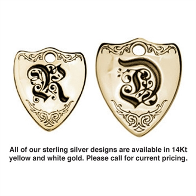 Large Crest Sterling Silver Pet ID Tags