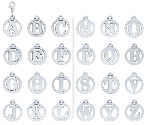 Large Cut-Out Initial Charms Collection A-Z