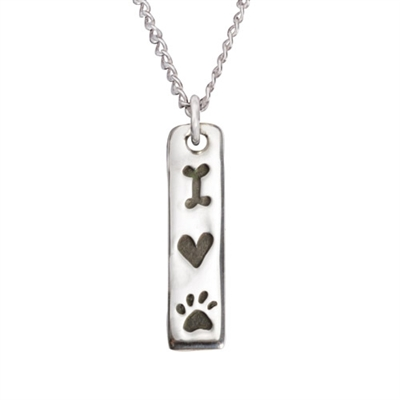"""I Love My Dog Tablet Sterling Silver Pendant on 18"""" Curb Chain"""