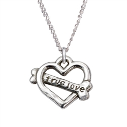 "True Love/Heart Bone Sterling Silver Pendant on 18"" Curb Chain"