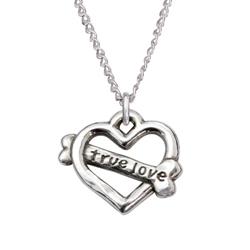 "True Love/Heart Bone Sterling Silver Pendant on 18"" Curb Chain"