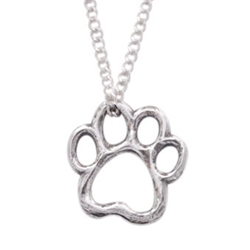 "Cut-Out Paw Sterling Silver Pendant on 18"" Curb Chain"