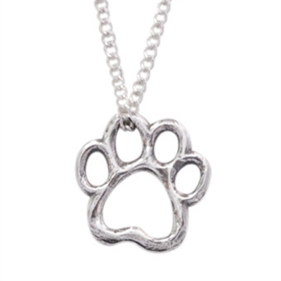 """Cut-Out Paw Sterling Silver Pendant on 18"""" Curb Chain"""