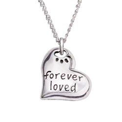 "Forever Loved Heart Sterling Silver Pendant on 18"" Curb Chain"