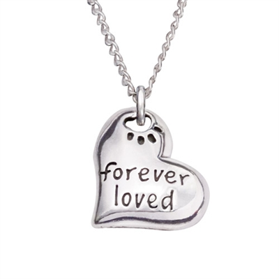 """Forever Loved Heart Sterling Silver Pendant on 18"""" Curb Chain"""