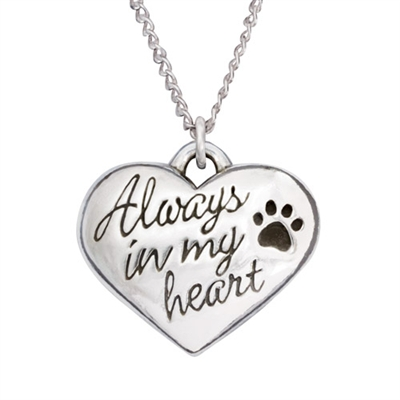 """Always In My Heart Sterling Silver Pendant on 18"""" Curb Chain"""