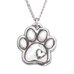 "Paw W/Heart/Engraveable Sterling Silver Pendant on 18"" Curb Chain"