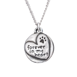 "Forever In My Heart Sterling Silver Pendant on 18"" Curb Chain"