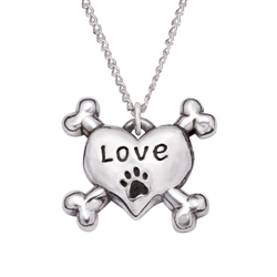 "Love Heart/Crossbones Sterling Silver Pendant on 18"" Curb Chain"