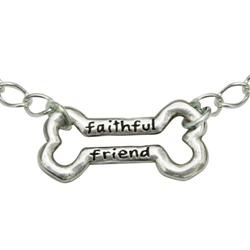 "Faithful Friend Bone Sterling Silver Bracelet on 7.25"" Adjustable Curb Chain"