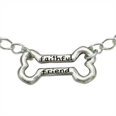 "Faithful Friend Bone Sterling Silver Bracelet on 7.25"" Adjustable Curb Chain"