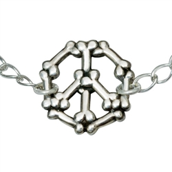 "Bones Peace Sign Sterling Silver Bracelet on 7.25"" Adjustable Curb Chain"