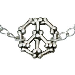 "Bones Peace Sign Sterling Silver Bracelet on 7.25"" Adjustable Curb Chain"