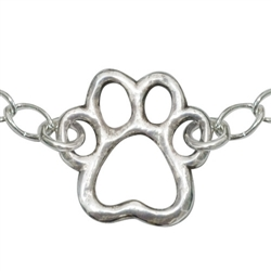 "Cut-Out Paw Sterling Silver Bracelet on 7.25"" Adjustable Curb Chain"