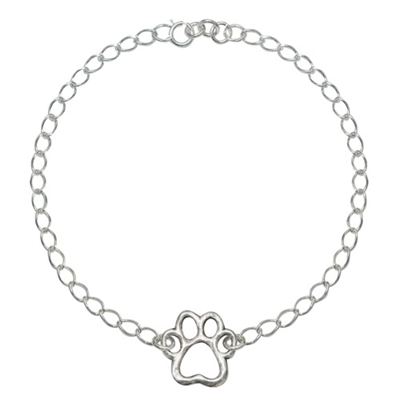 """Cut-Out Paw Sterling Silver Bracelet on 7.25"""" Adjustable Curb Chain"""