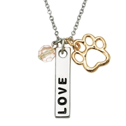 "Love Bar/Cut-Out Paw Pendant on 18"" Curb Chain"