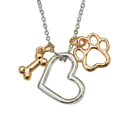 "2-Tone Bone/Heart/Paw Pendant on 18"" Curb Chain"
