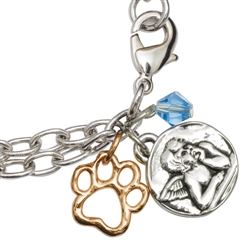"2-Tone Angel/Cut-Out Paw Bracelet on 7.25"" Adjustable Curb Chain"
