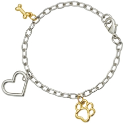 "2-Tone Bone/Heart/Paw Braclet on 7.25"" Adjustable Curb Chain"