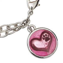 """In My Heart/Pink Braclet on 7.25"""" Adjustable Curb Chain"""
