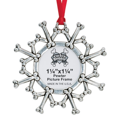 Solid Pewter Holiday Photo Ornaments