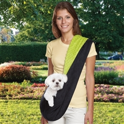 Black/Green or Black/Pink Reversible Sling Dog Carrier | Pets up to 8 lbs