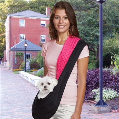 Black/Green or Black/Pink Reversible Pet Sling Dog Carrier | Pets up to 8 lbs