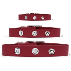 Vegetable Tanned Red Leather Collars