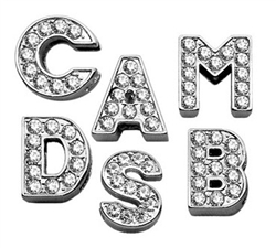 "3/4"" (18 MM) Clear Letter Sliding Charms"