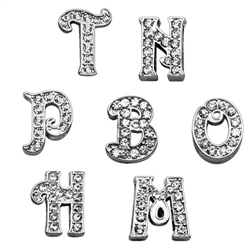 "3/8"" (10 MM) Clear Script Letter Sliding Charms"