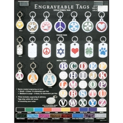 Colored Engraveable Tags Display for Special Ordering