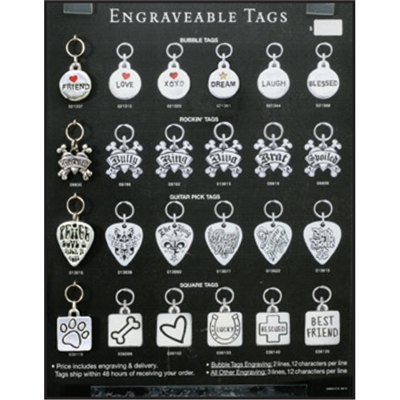 Engraveable Tags Display for Special Ordering