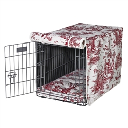 Raspberry Toile (white) Luxury Crate Cover