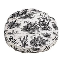 Round Bed Onyx Toile (White) Microvelvet