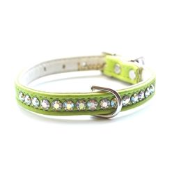 Jackie O Single Row Vegan Dog Collar- Lime