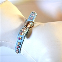 SOFT KID LEATHER BOWTIE COLLAR IN BABY BLUE