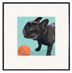 Framed Print: French Bulldog, Black