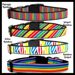 Rainbow Collection Nylon Ribbon Collars & Leads