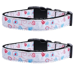 Patriotic Crazy Hearts Nylon Ribbon Collars & Leads