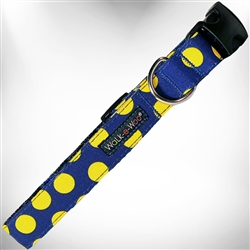 Neon Yellow Dots on Blue Dog Collars and Leads