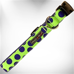 Neon Blue Dots on Green Dog Collars and Leads
