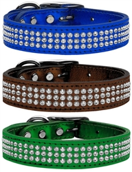 Three Row Metallic Crystal Leather Collar