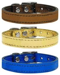 Plain Metallic Leather Collars