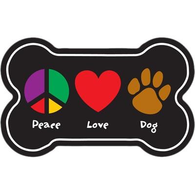 Bone Shaped Magnet - Peace, Love, Dog