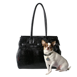 Embossed Metro Patent Croco Monaco Tote in Midnight