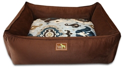 Chocolate Lounge Bed w/Heirloom Blue Cover